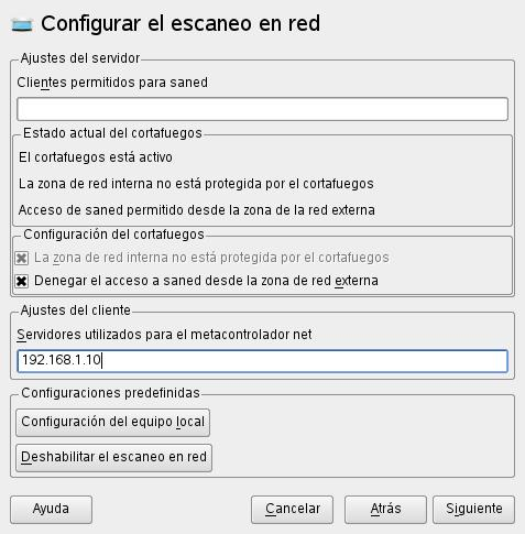 yast - configuración para utilizar escáner compartido
