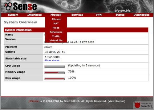 pantallazo de pfsense