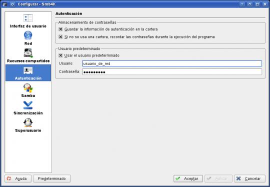 smb4k - autentificación de usuario