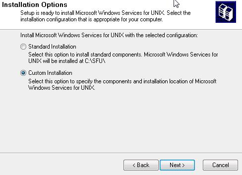 Servicios de Windows para UNIX - inicio asistente instalación
