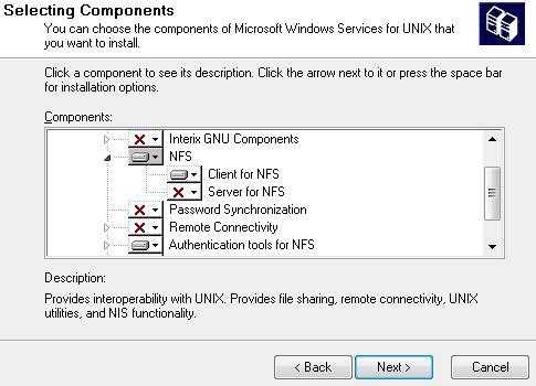 Servicios de Windows para UNIX - opciones instalación