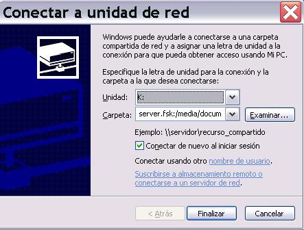 Servicios de Windows para UNIX - Montar recurso