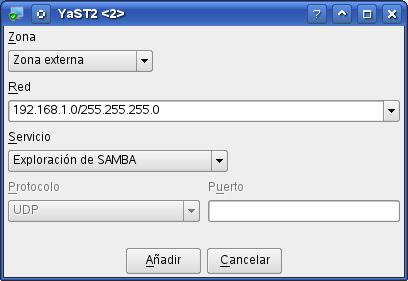 yast - Añadir red para exploración de recursos samba