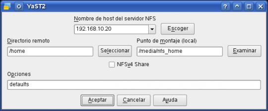 yast - cliente nfs (añadir directorio exportado)