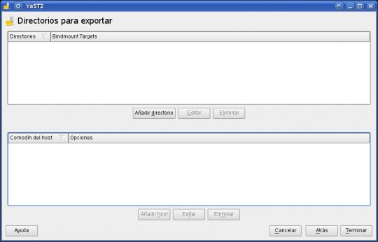 yast - nfs server (configurar exportaciones)