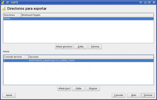 yast - nfs server (finalizar configuración del servidor)