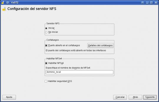yast - nfs server
