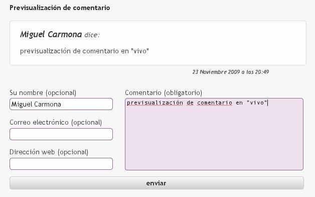 "previsualización de comentario en ""vivo"""