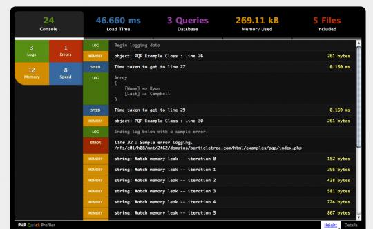 PHP quick profiler